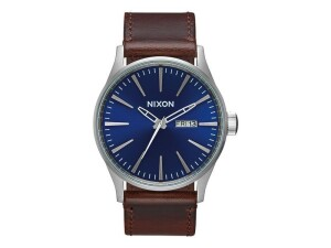 Nixon Armbanduhr Sentry Leather Blue Brown 42 mm