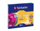 Verbatim DVD+RW 4x4.7GB 5er Pack, colour