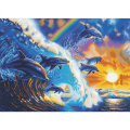 "Crystal Art Kit ""Dolphin Waves"", 90 x 65 cm, mit Rahmen"