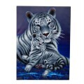 "Crystal Art Kit ""Loving Embrace White Tigers"" 65 x 90 cm, mit Rahmen"
